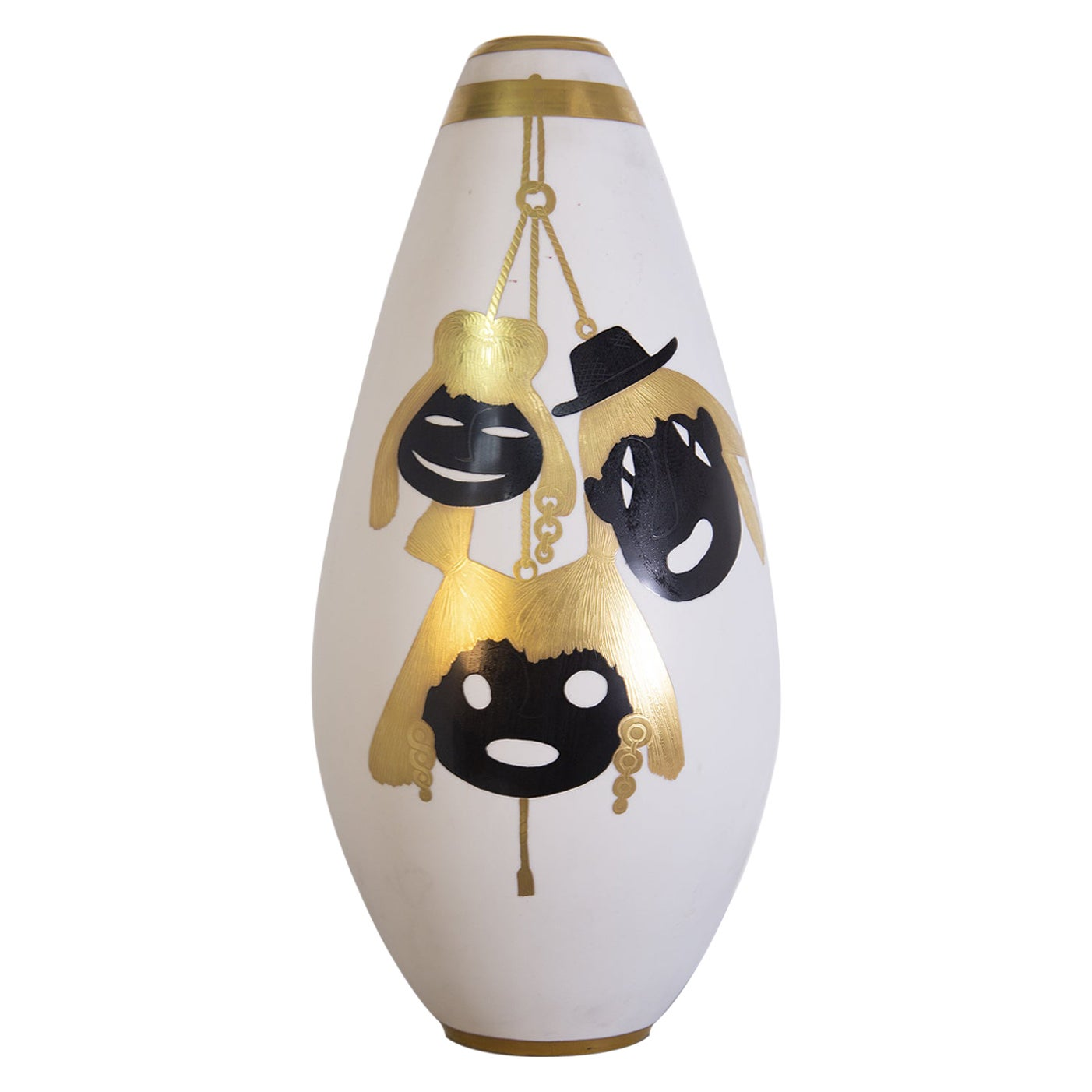 Precious Va by Arrigo Finzi in Pure Gold and Porcelain, Original Label, 1950s