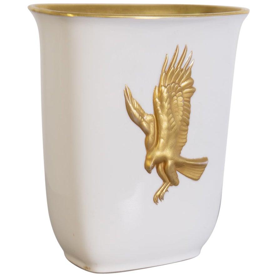Arrigo Finzi Important Italian Vase in Gold and Ceramics, 1950s
