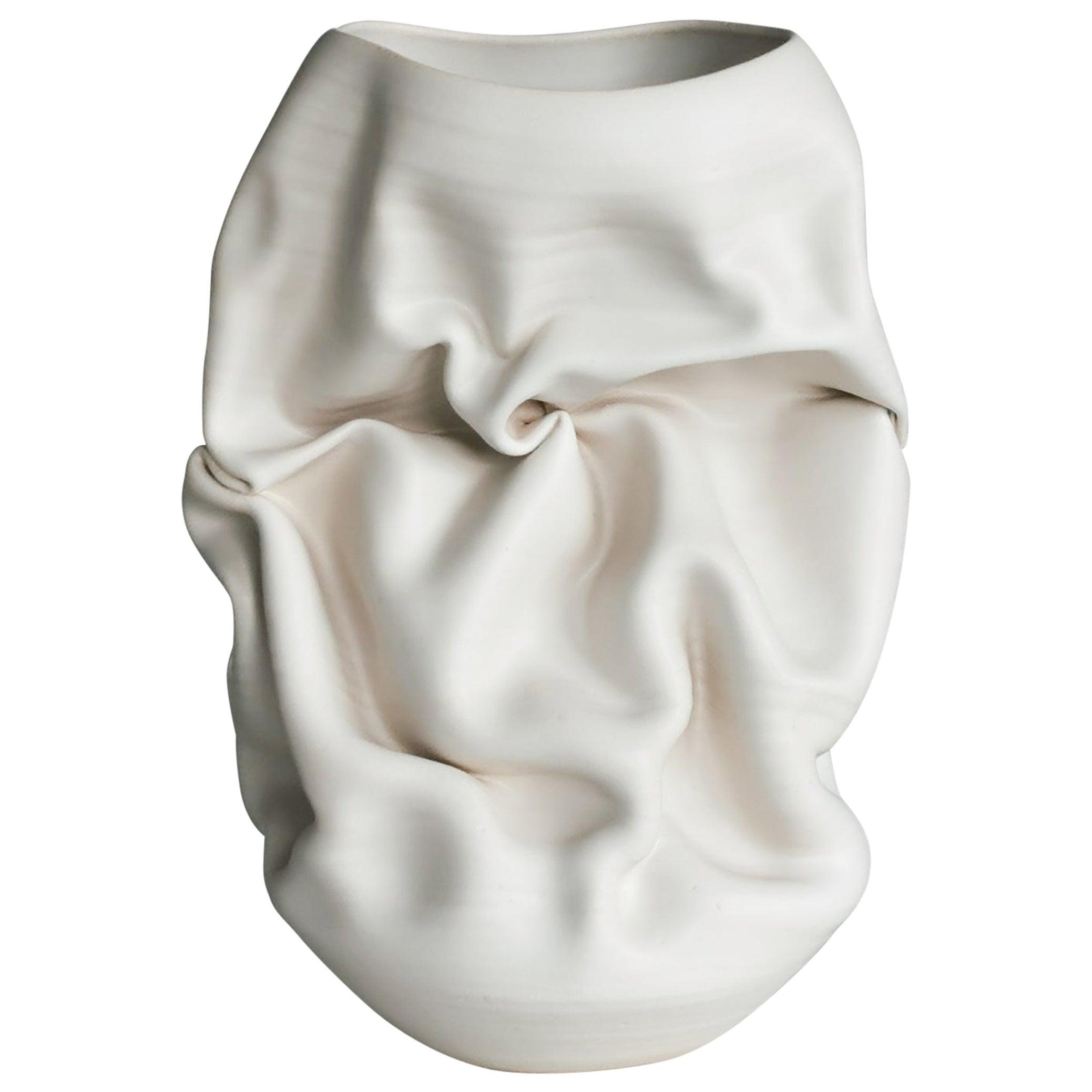 Ceramic Sculpture Vessel, N. 50 Medium Tall White Crumpled Form, Objet d'Art