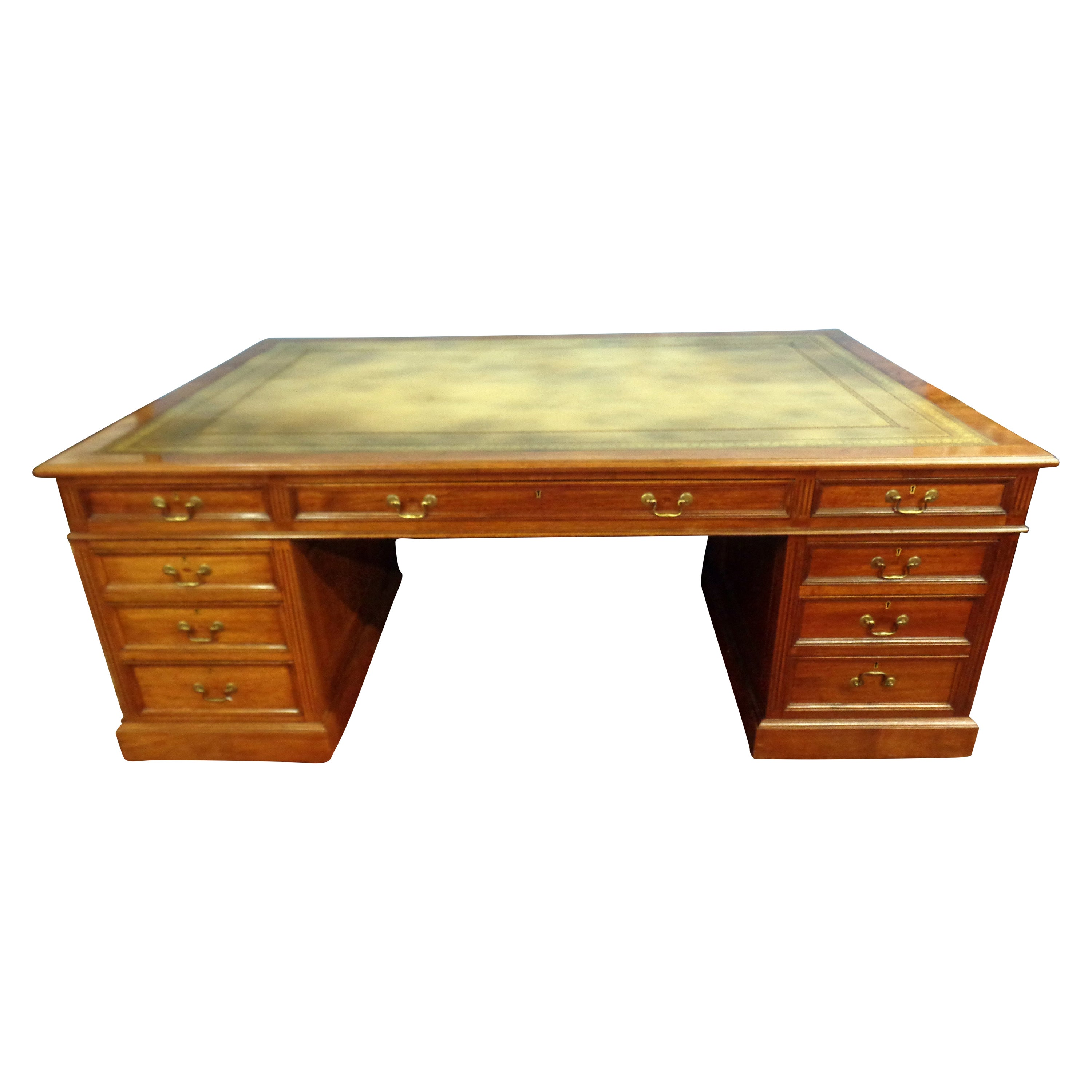 Signed English Double Sided Mahogany Partners Desk by Maple & Co.