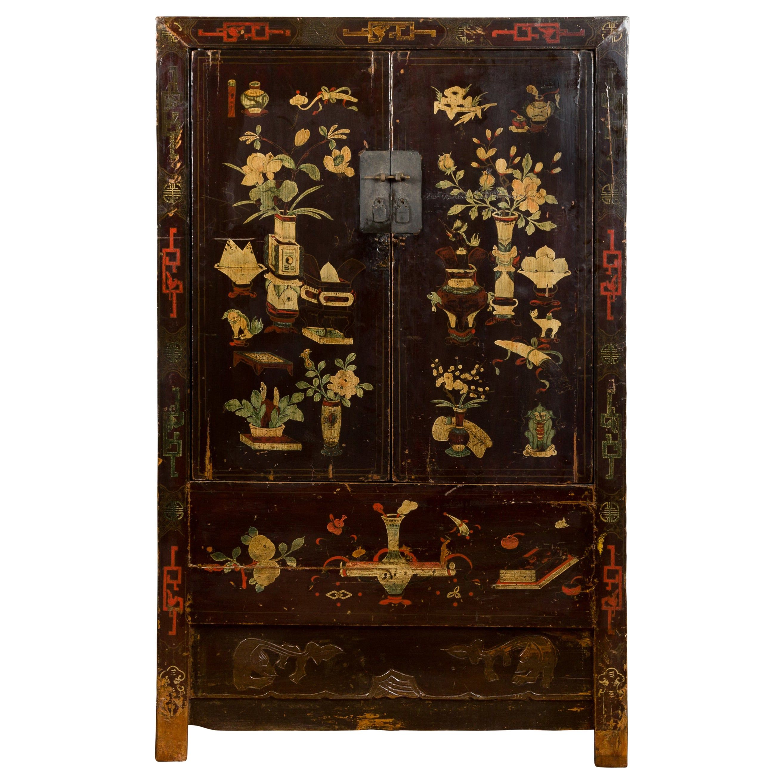Chinese Brown Lacquered Qing Dynasty 19th Century Cabinet with Painted Motifs