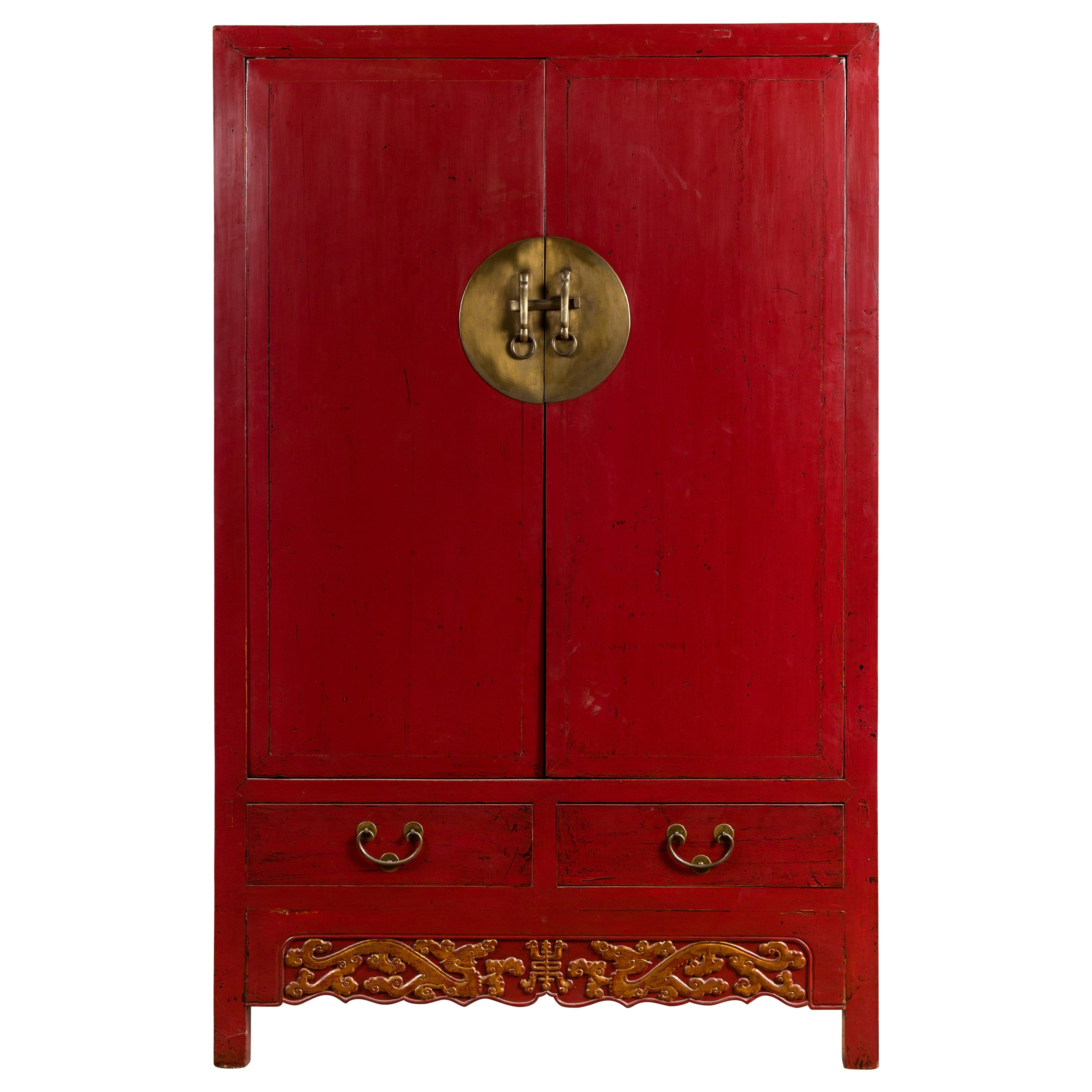 Chinese Red Lacquered Qing Dynasty 19th Century Cabinet with Carved Gilt Apron