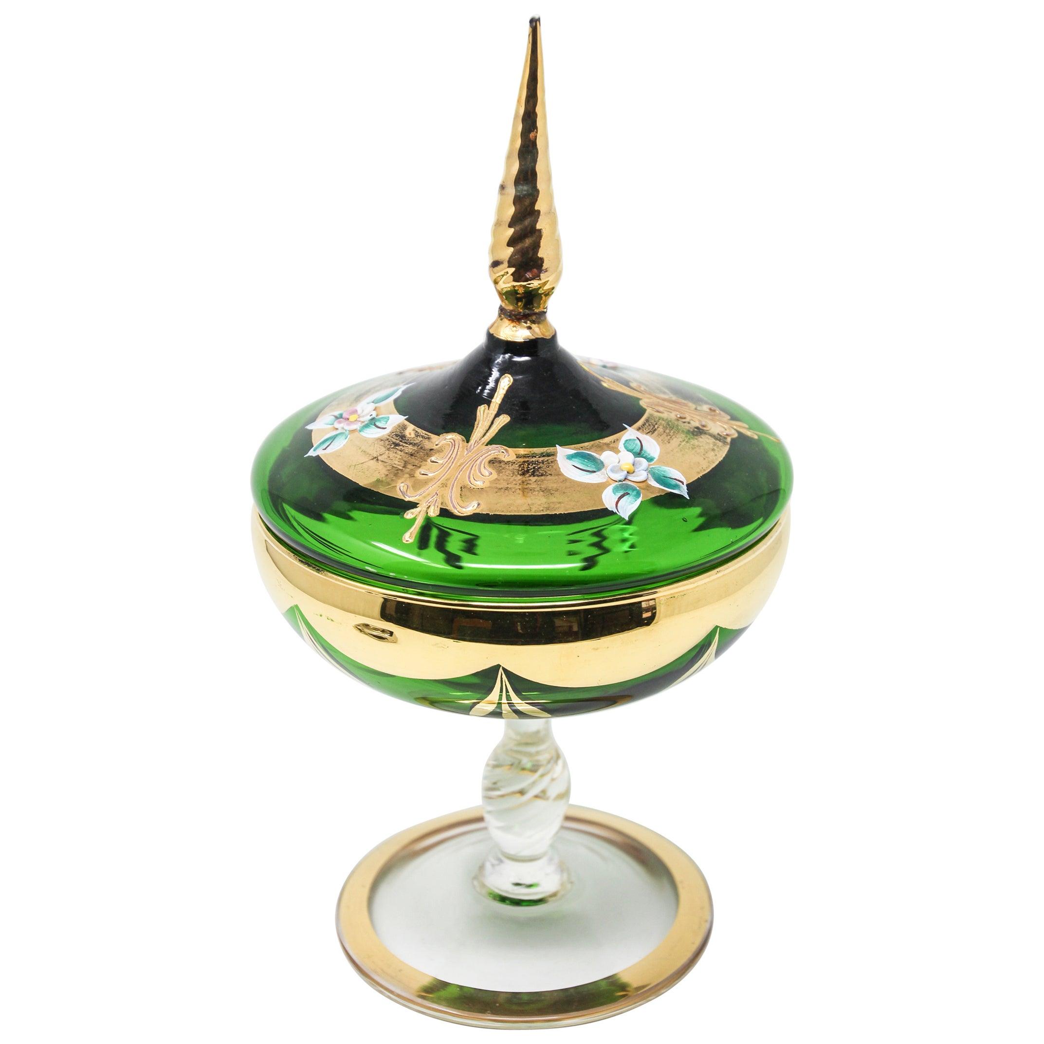 Bohemian Emerald Green Glass Bonbonniere Dish