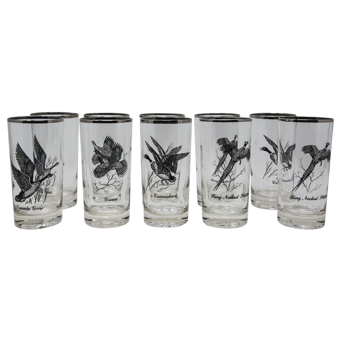 Vintage Set of 10 Highball Drinking Glasses with Silver Flying Ducks Pattern