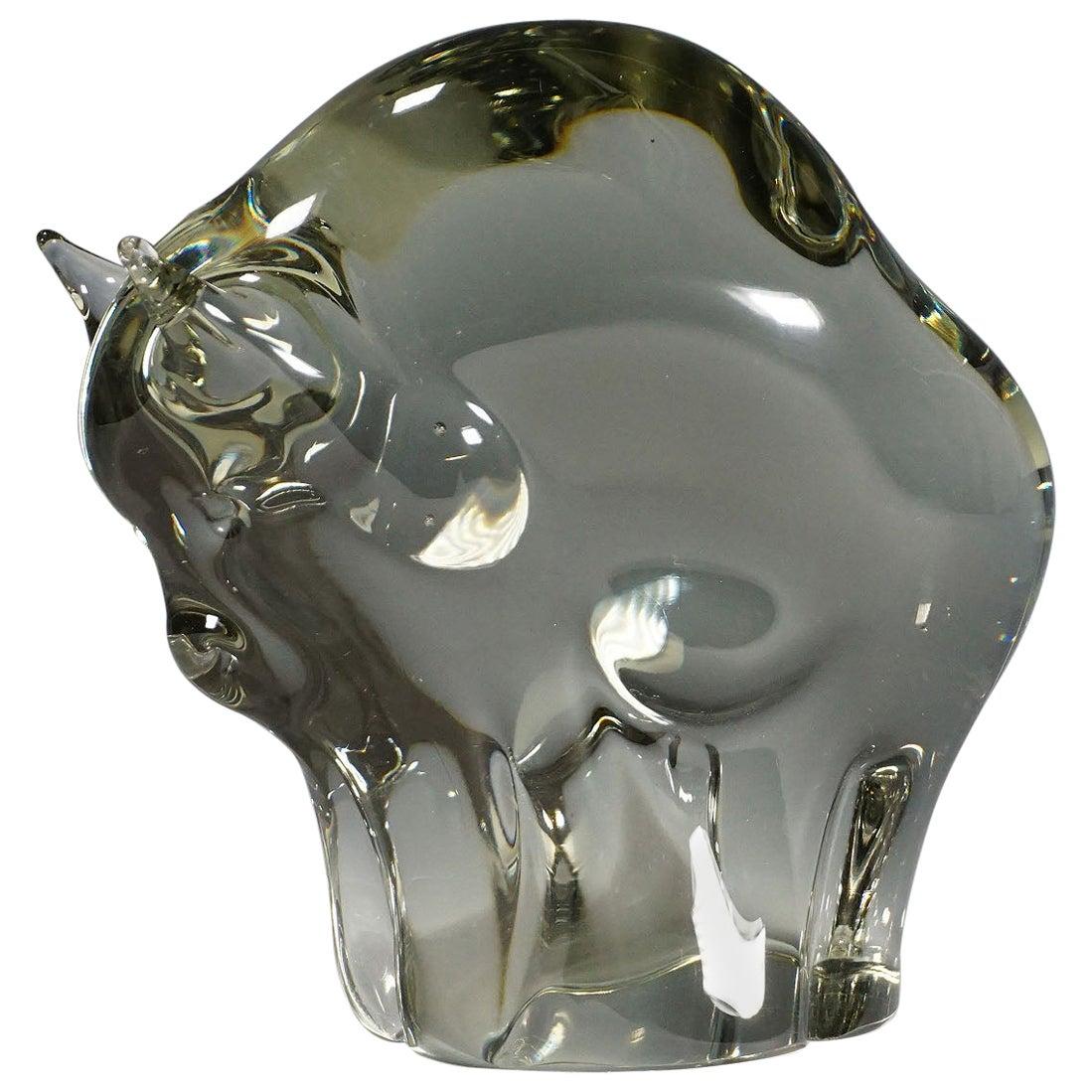 Sculpture of a Murano Glass Bison Designed by Livio Seguso, circa 1970s