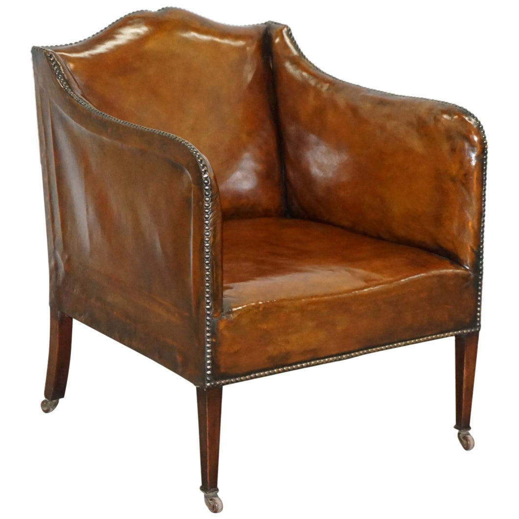 Rare circa 1780 George III Restored Brown Leather Gentlemans Library Armchair