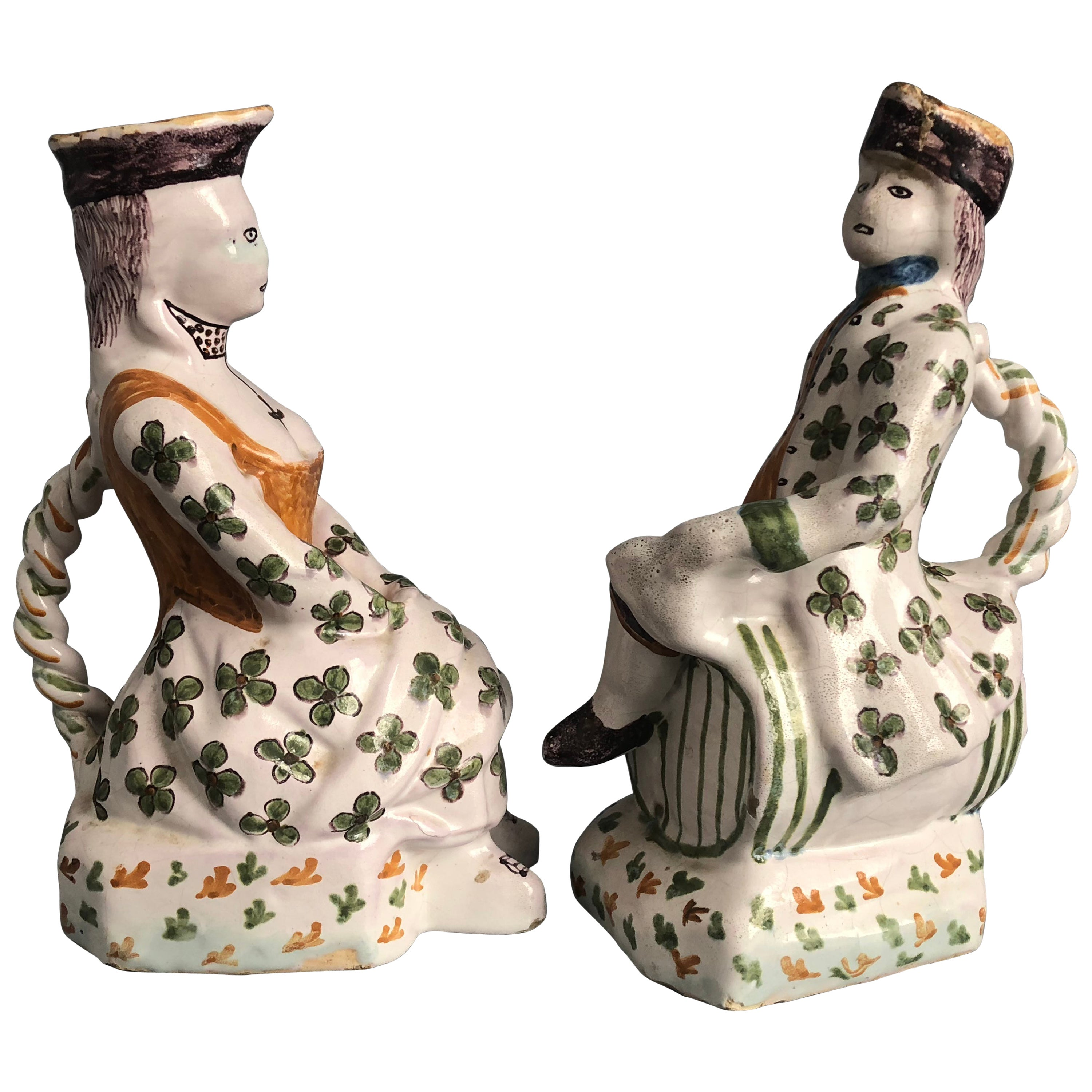 Pair of Provincial Faience Figural Pitchers