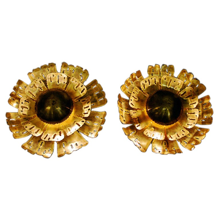 Danish Pair of Brutalist Brass Flower Lamps by Svend Aage Holm-Sørensen, 1960s