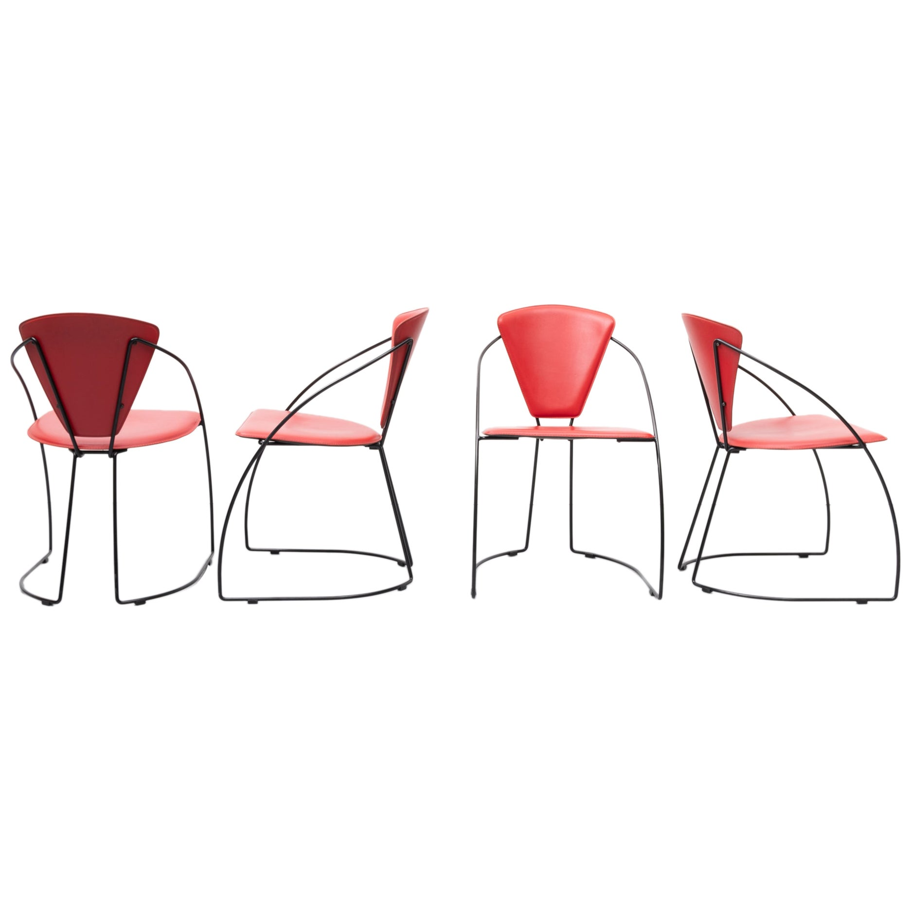 Italian Stich Leather Dining Chairs, 1980s