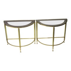 Pair of Demi-Lune Drinks or Side Tables Brass and Smoked Glass