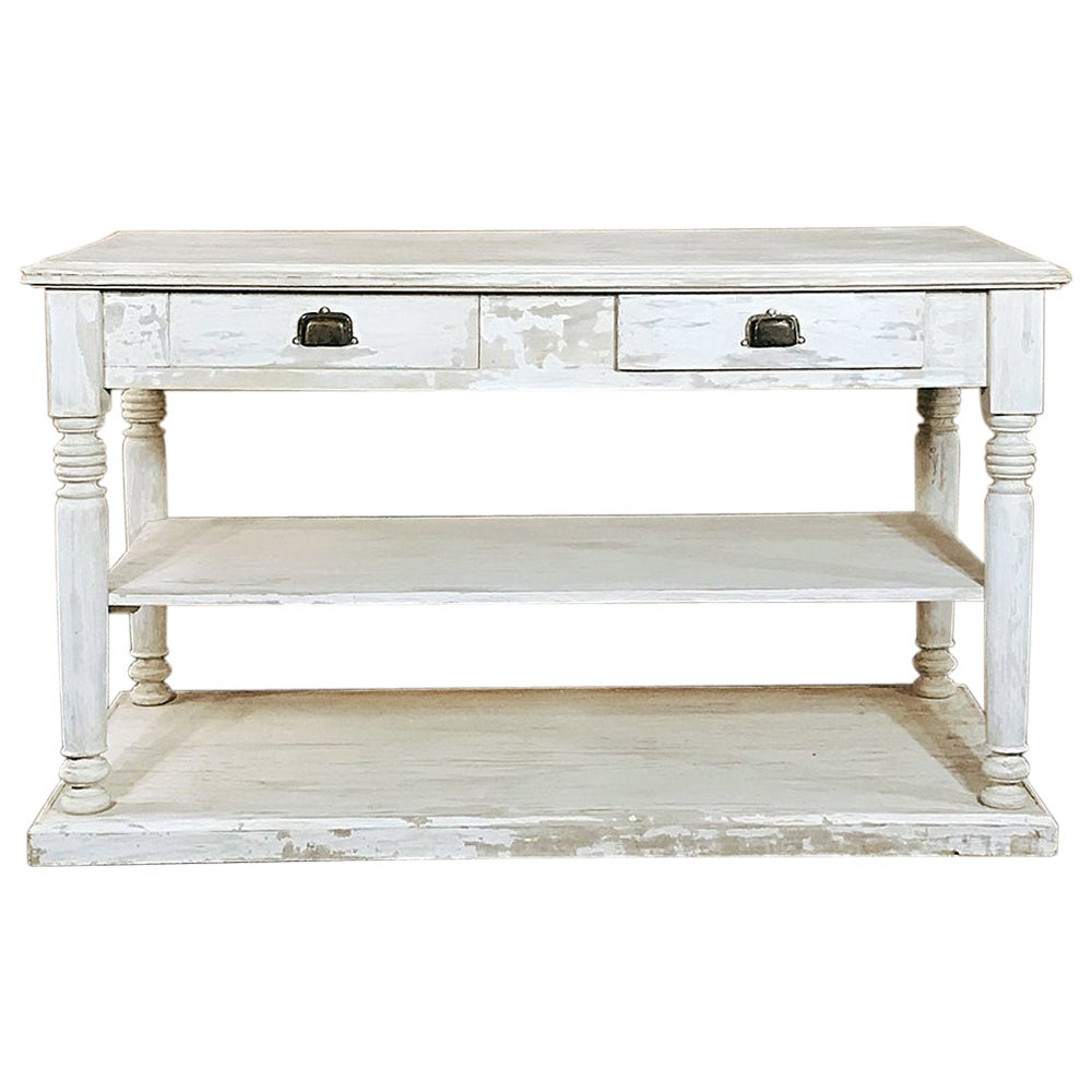Antique French Neoclassical Painted Store Counter, Island, Sideboard