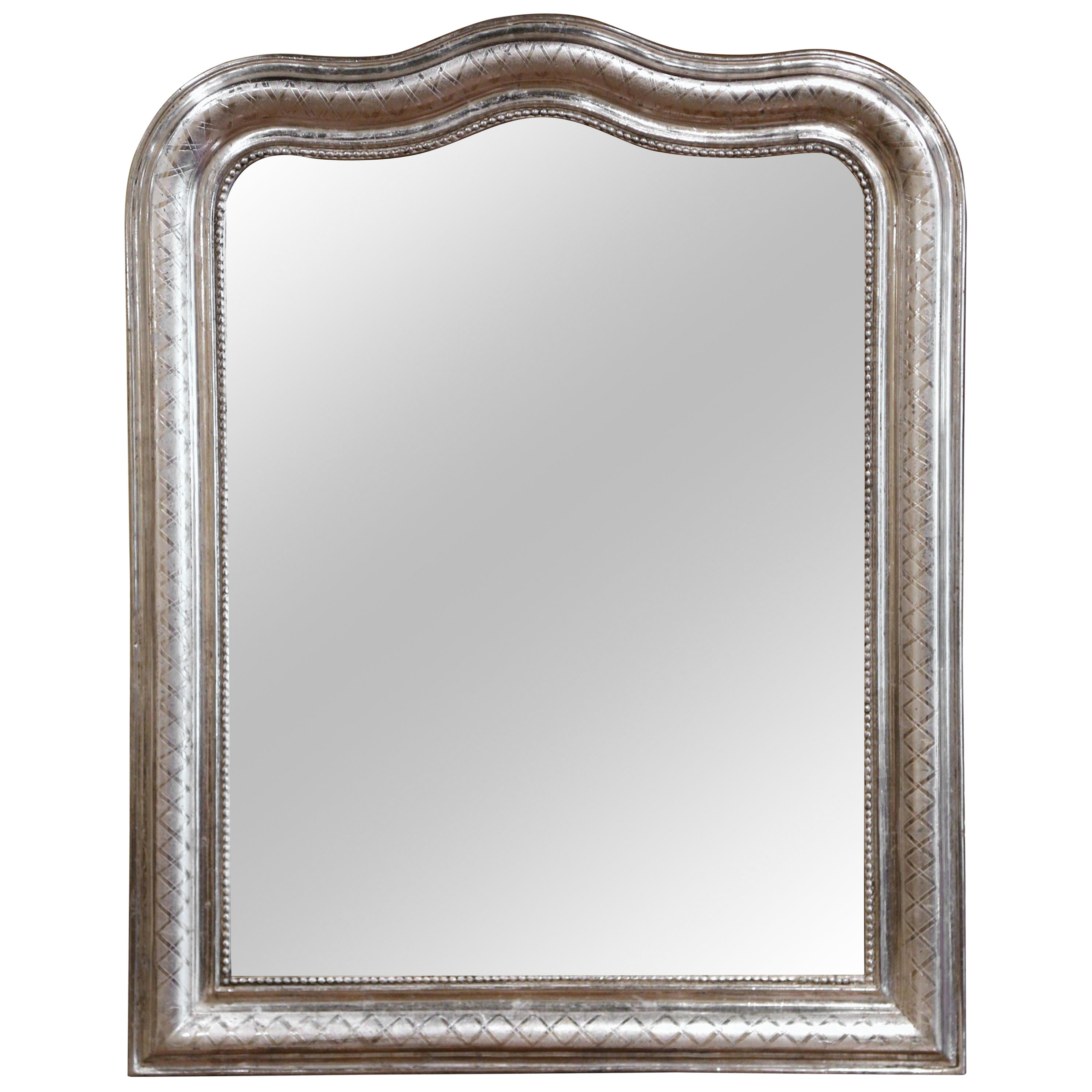 19th Century French Louis Philippe Silver Leaf Mirror with Geometric Motifs