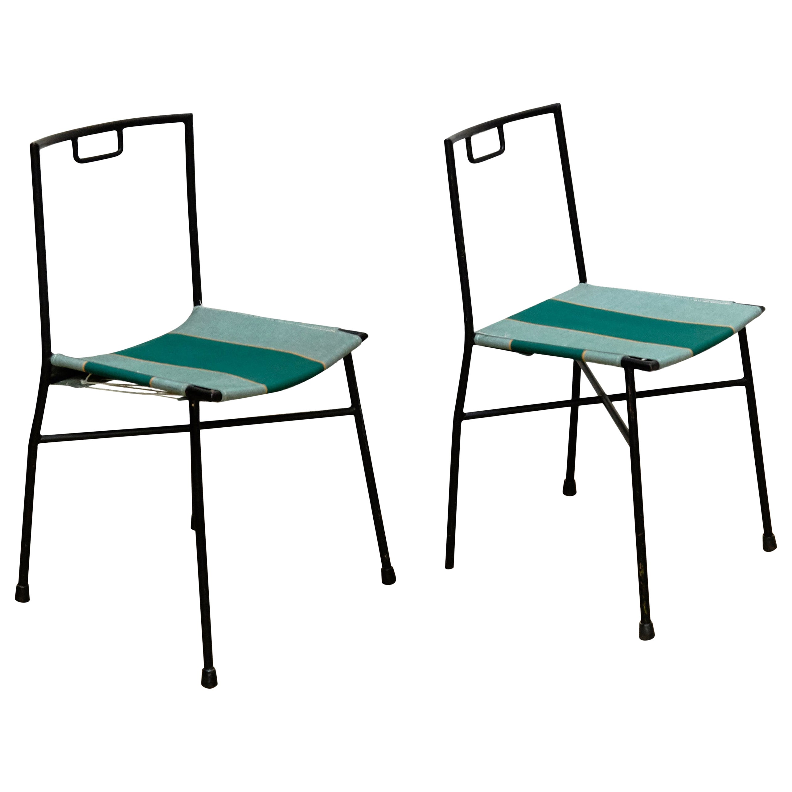 Pair of Lacquered Mid-Century Modern French Chairs, circa 1960