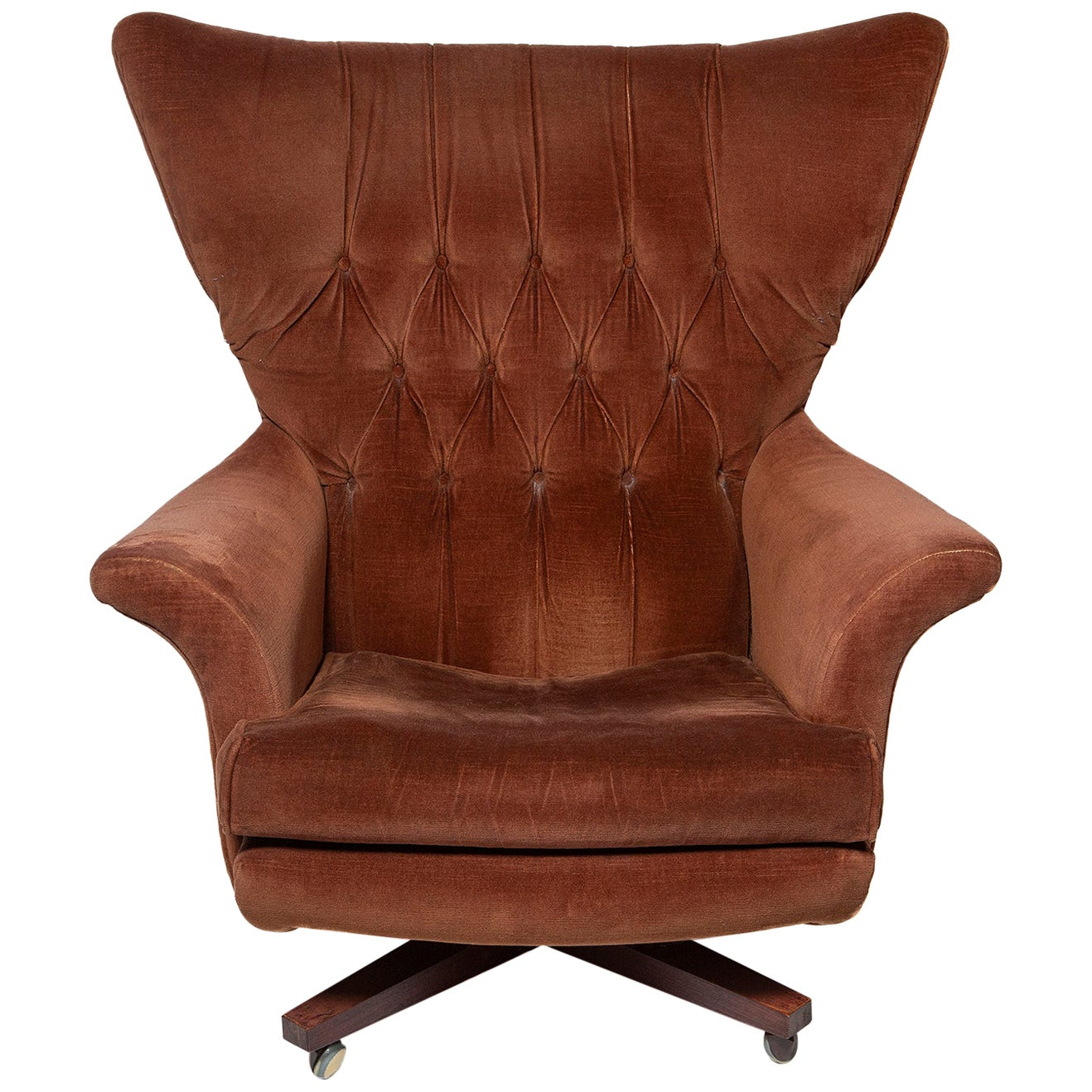 Armchair Wing Swivel Lounge G-Plan 6250R Brown Draylon 1962 James Bond Blofeld