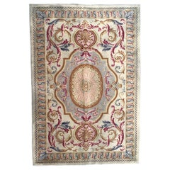Midcentury Knotted Aubusson Savonnerie Design Rug
