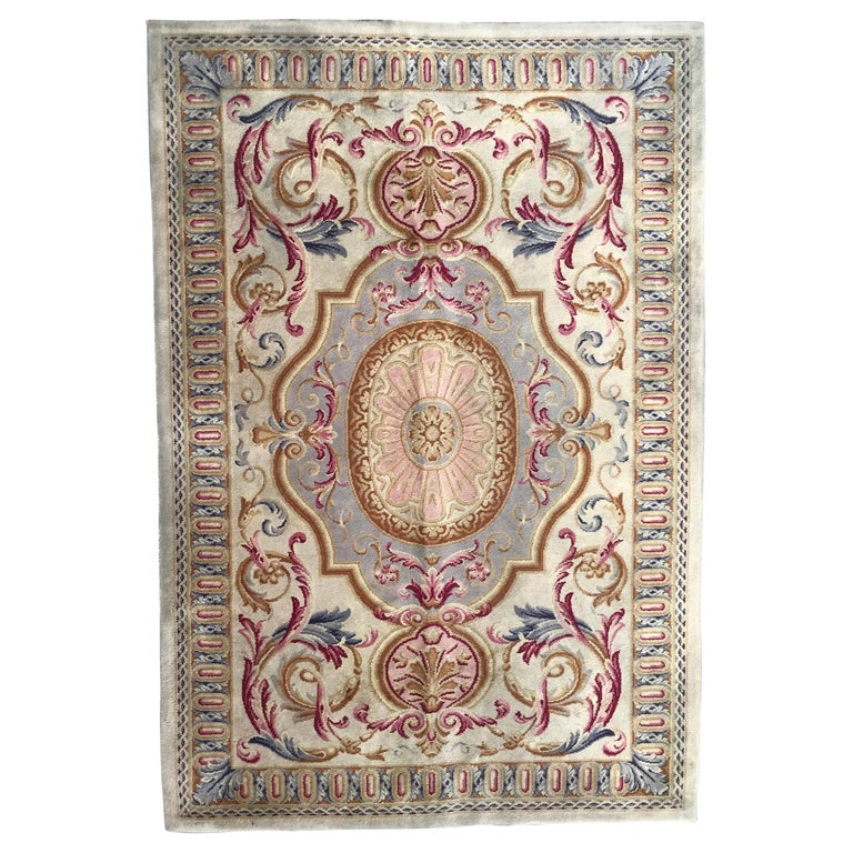 Midcentury Knotted Aubusson Savonnerie Design Rug For Sale