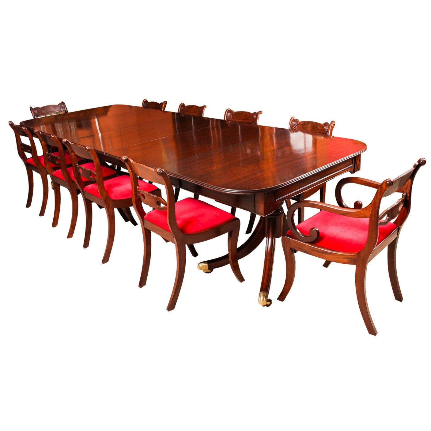 Antique Twin Pillar Regency Dining Table and 10 Regency Chairs, 19th Century