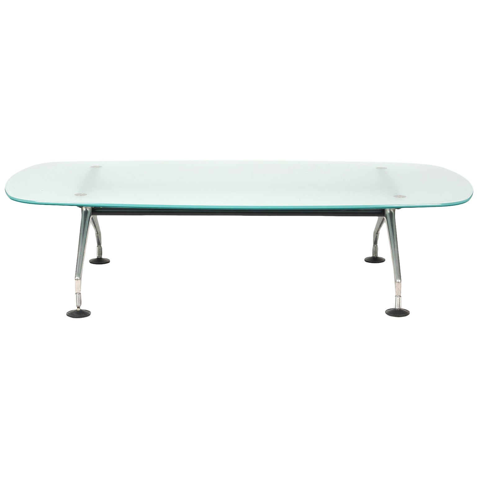 Frosted Glass Top and Brushed Metal Coffee Table by Antonio Citterio for Vitra