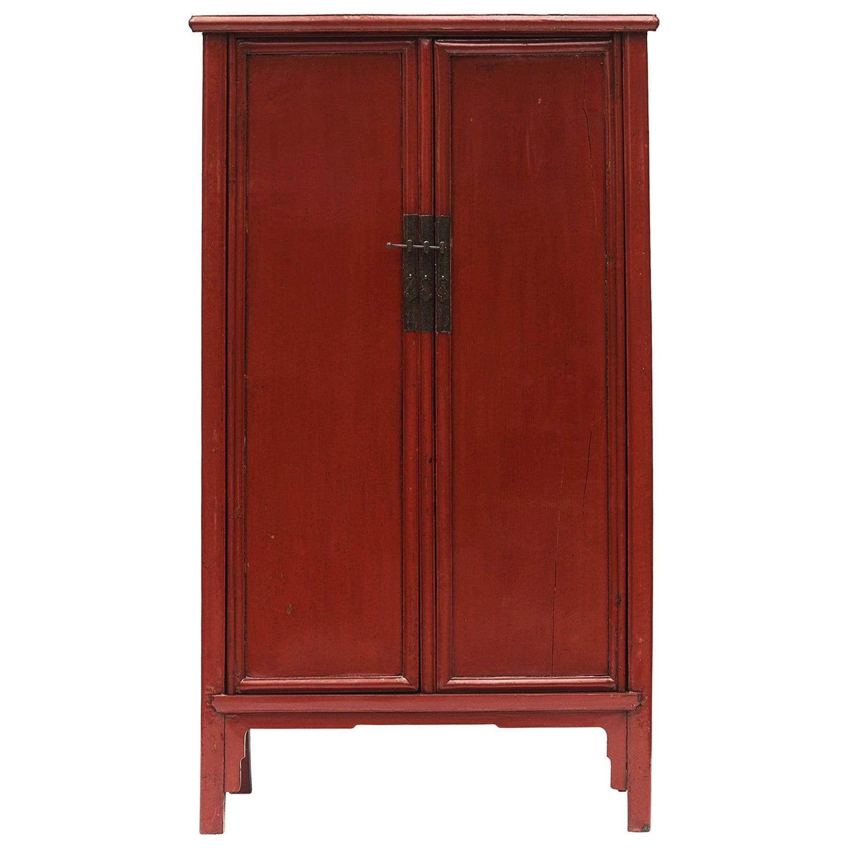 Chinese Ming-Style Tapered Cabinet with Original Red Lacquer