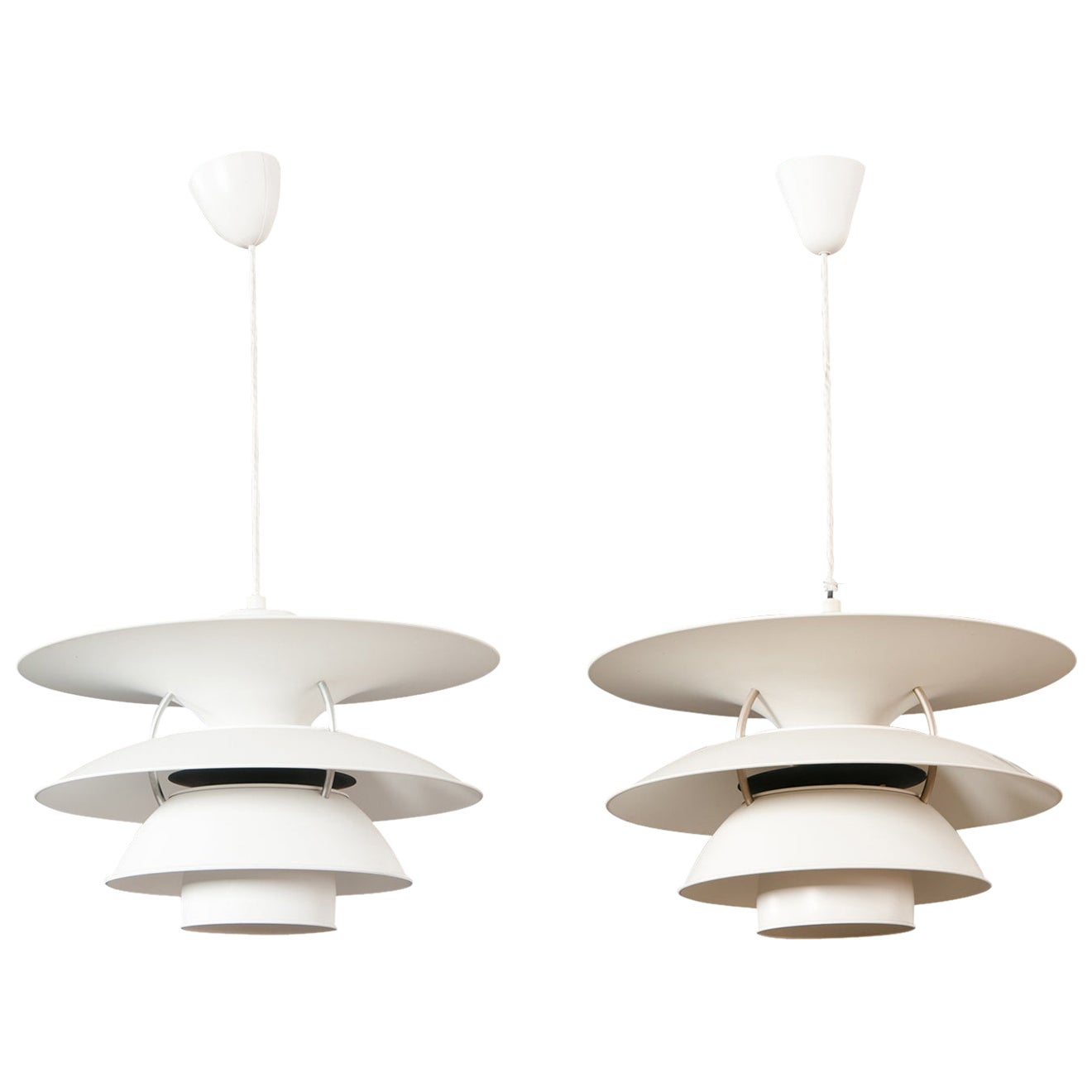 Pair of Vintage PH 6.5-6 White Charlottenborg Ceiling Lamps for Louis Poulsen