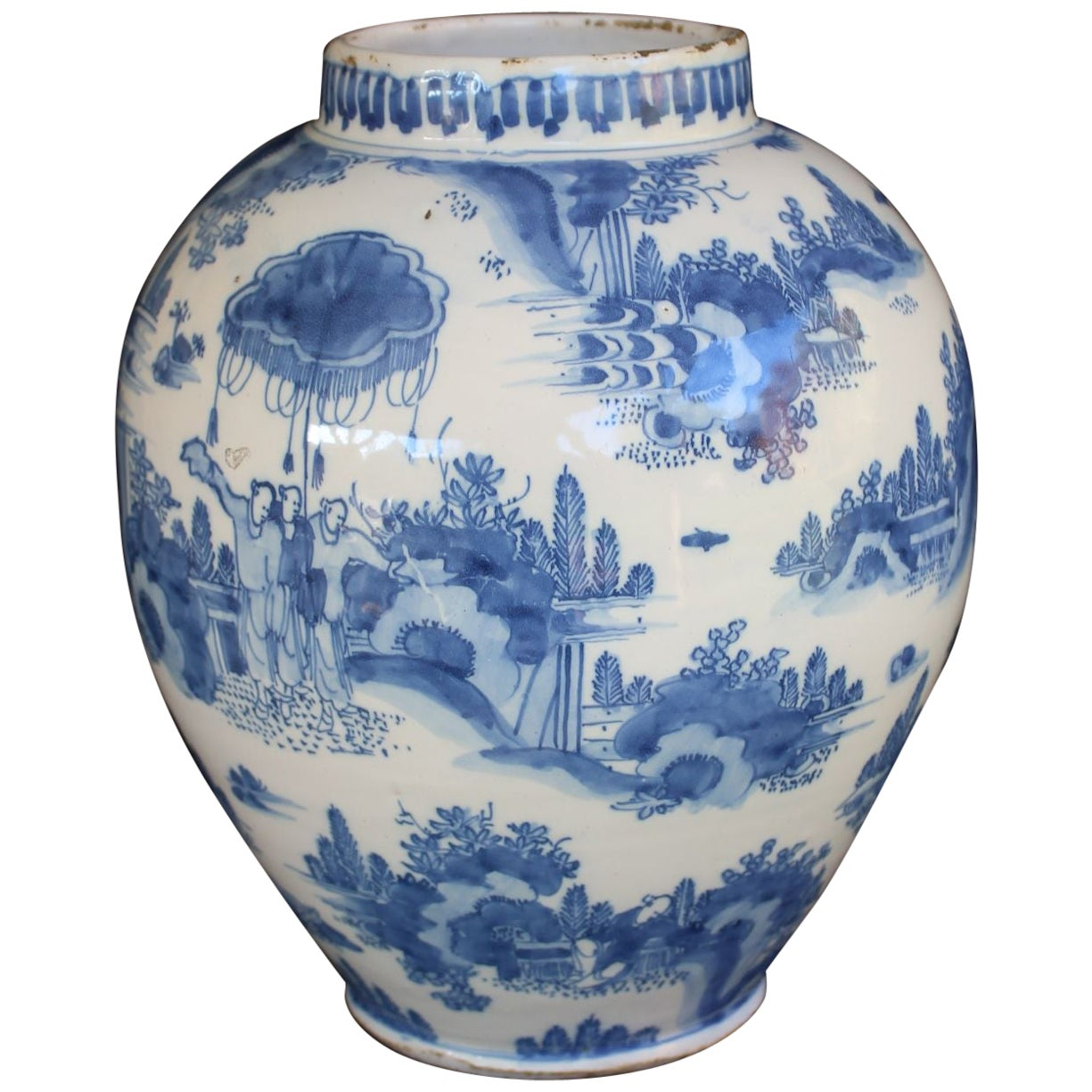 Delft, Blue and White Chinoiserie Landscape Jar, 1660-1680