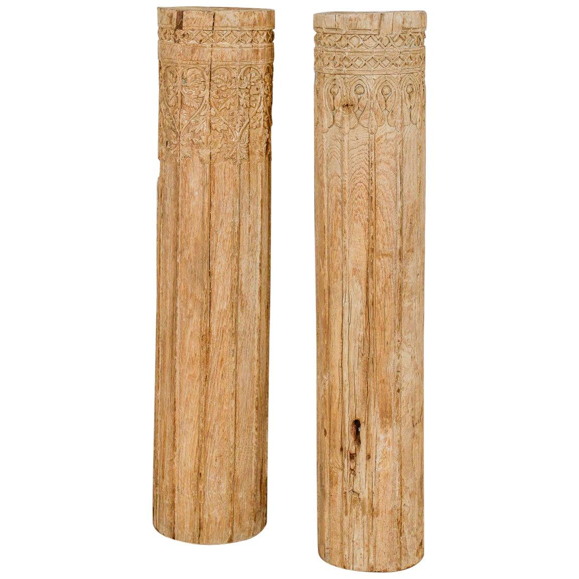 Decorative Short Hardwood Pillars, 20th Century