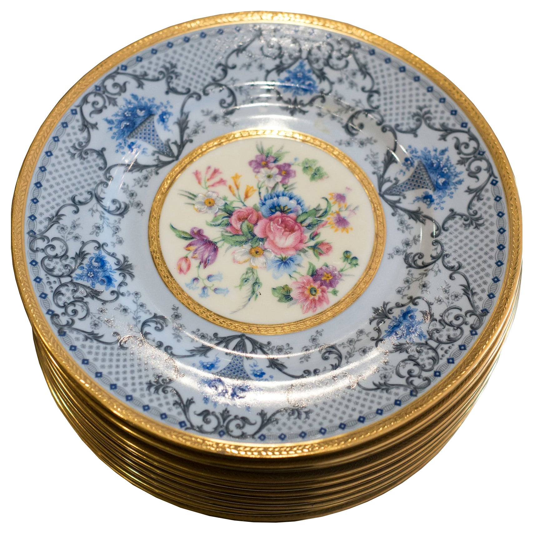 Antique Set of 10 Limoges for J. E. Caldwell Floral and Gilt Plates