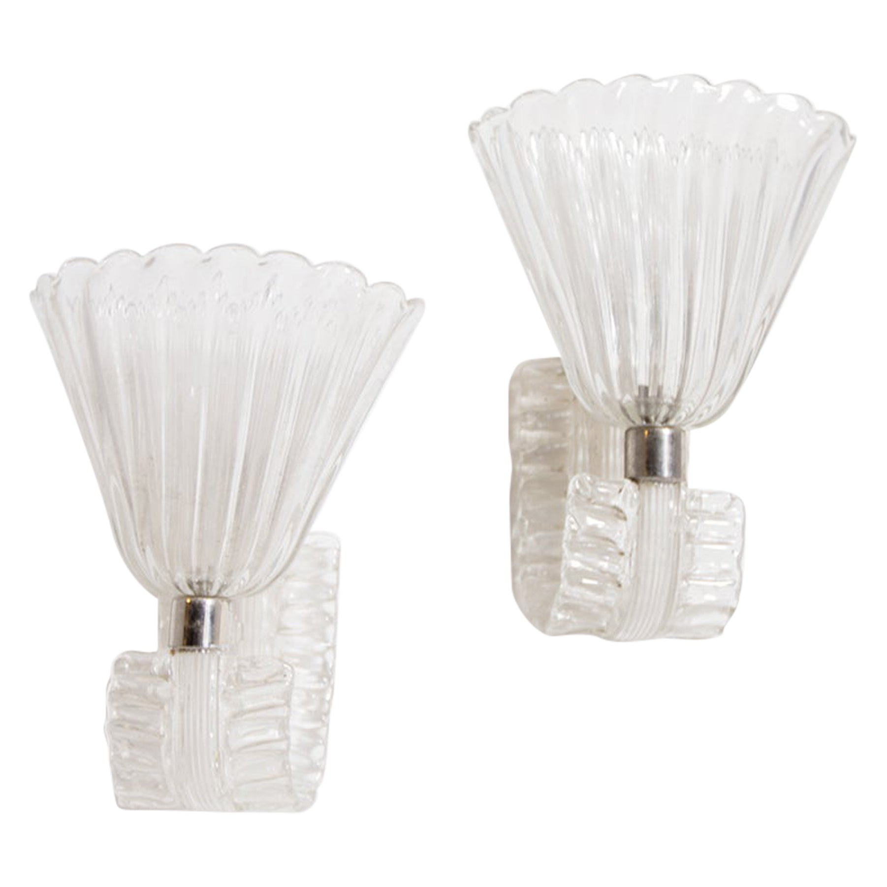 Pair of Wall Lamps by Barovier & Toso in Murano Glass, 1950s