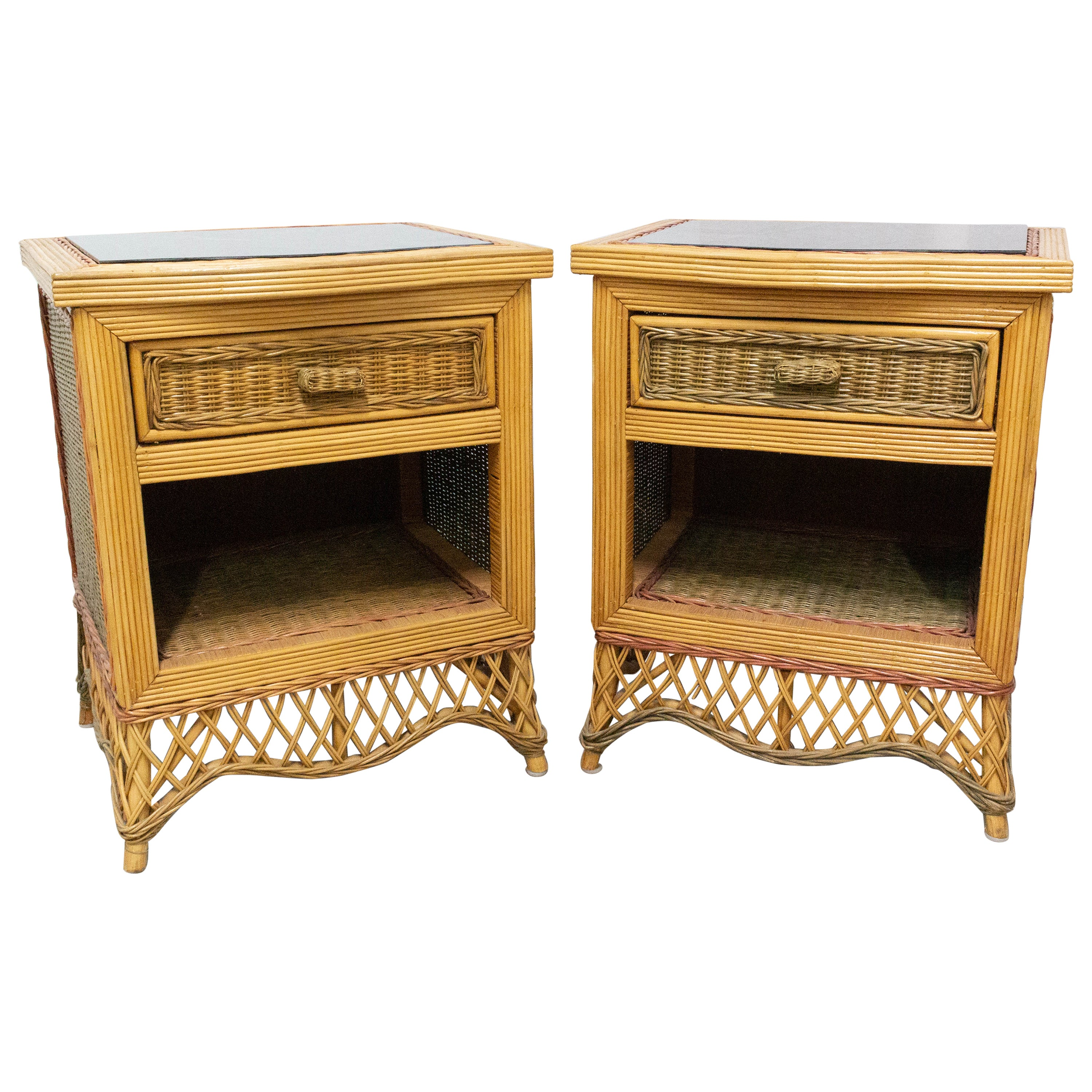 Pair of Rattan Nightstands Mirror Top Side Cabinets Bedside Tables, French
