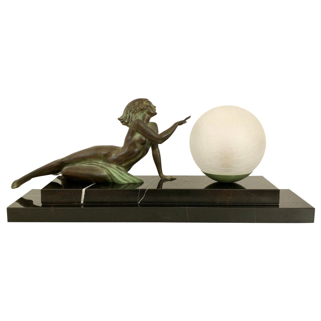 Table Lamp Seduction Lumineuse Lady with Glass Ball by Fayral and Max Le Verrier