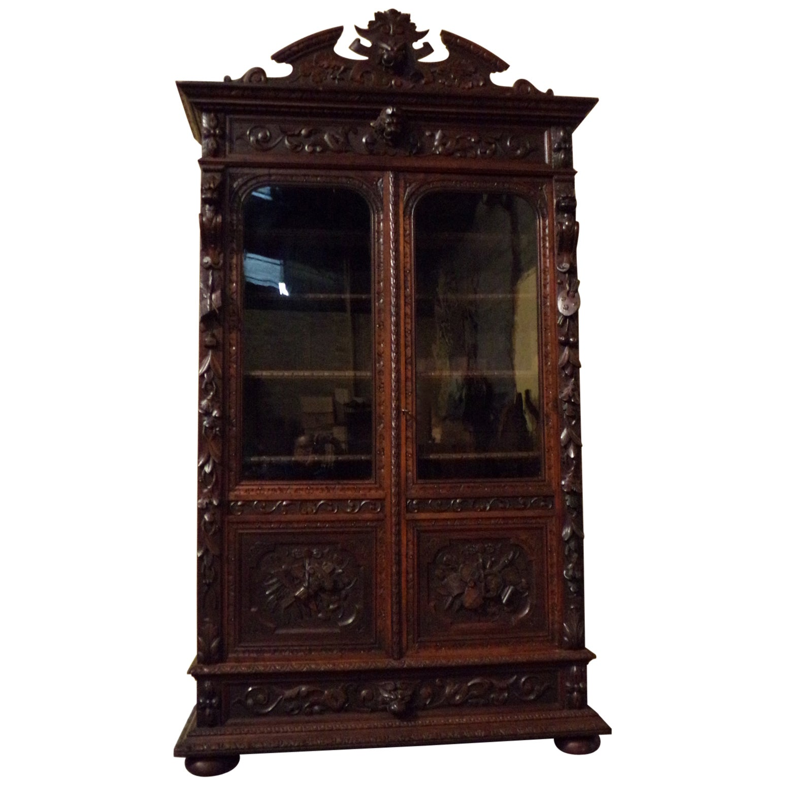 Black Forest Style Carved Oak Bookcase, circa 1880