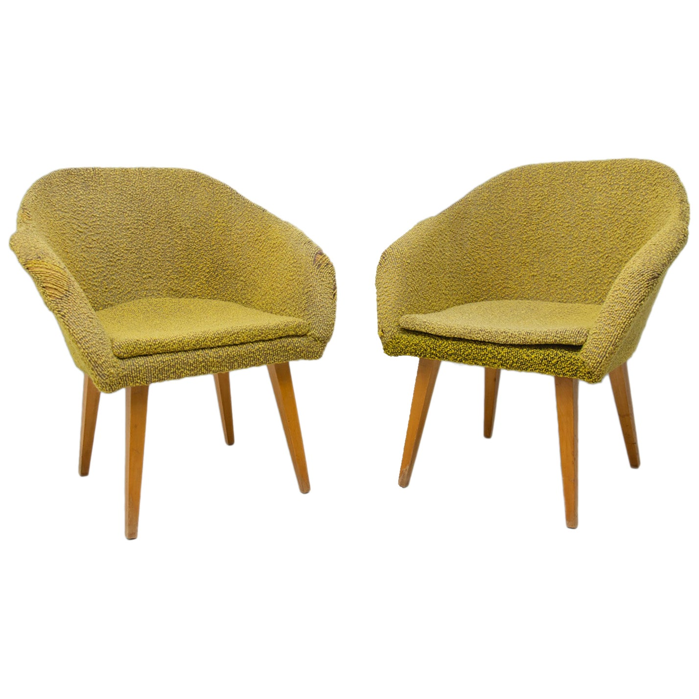 Pair of Midcentury Shell Fiberglass Lounge Chairs, Czechoslovakia, 1960s