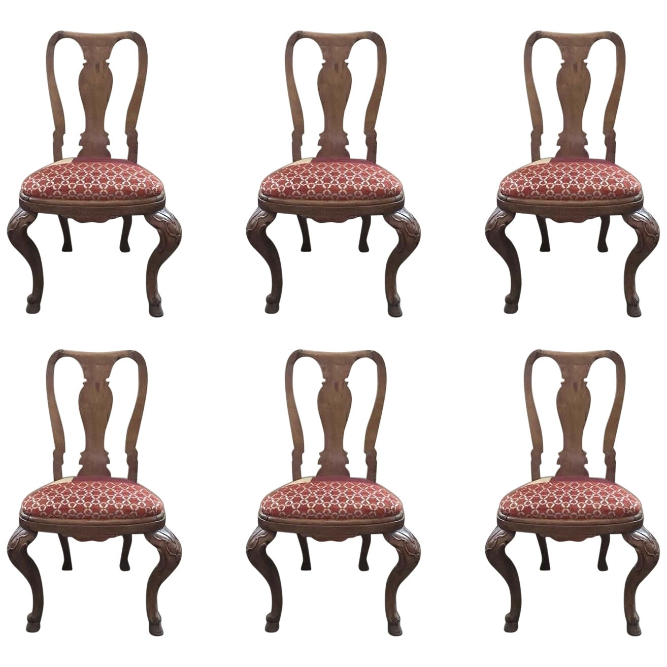 Italy Mid-18th Century Set Six Dining Chairs Solid Oak Hand Carved