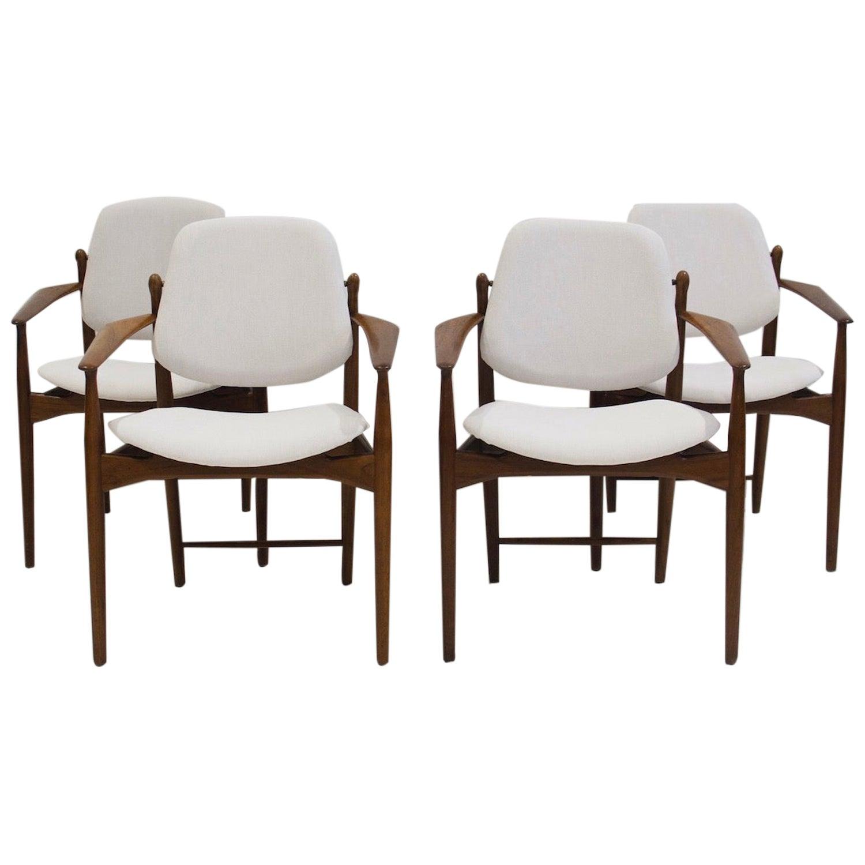 Set of Four Teak Armchairs by Arne Vodder for France & Daverkosen
