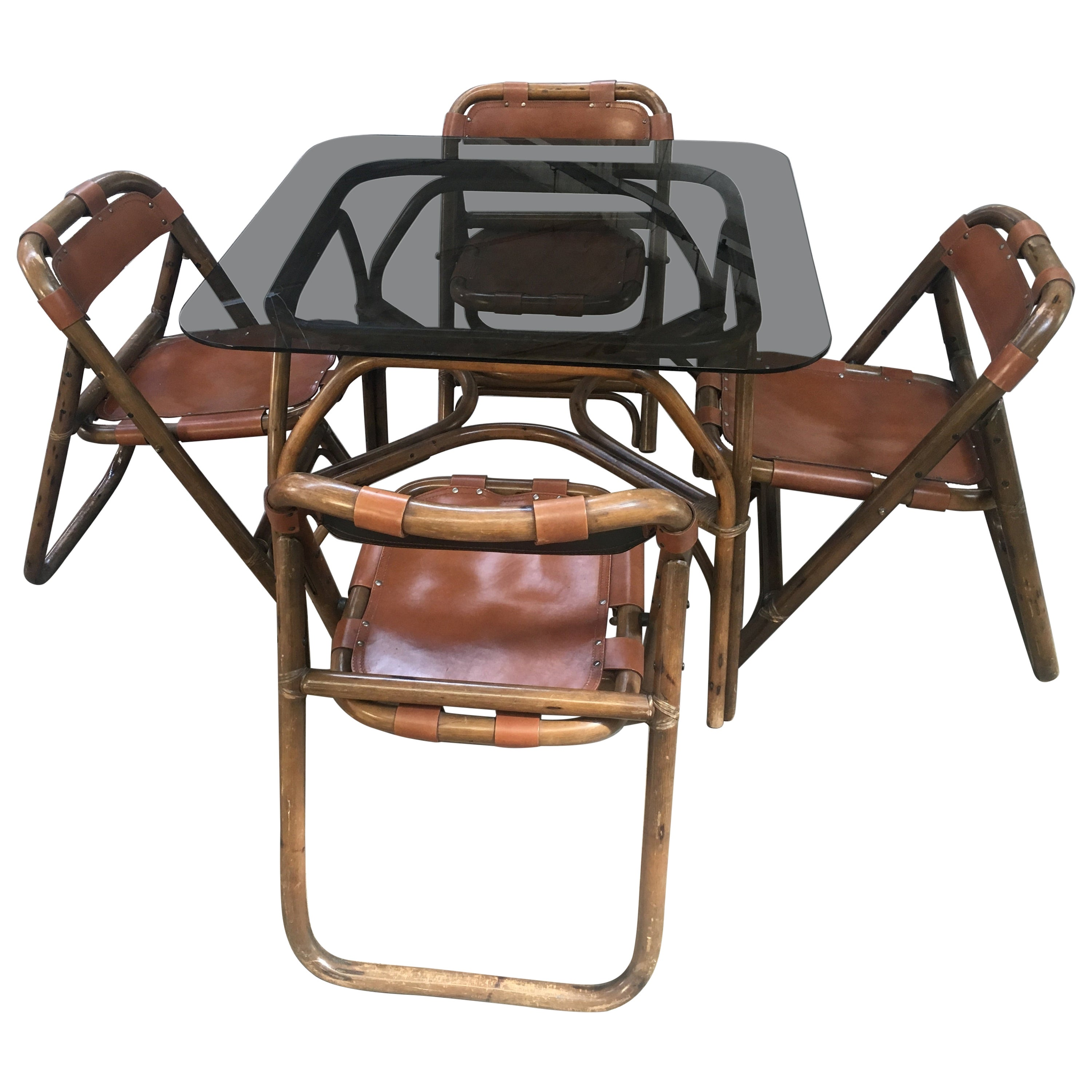 Mid-Century Modern Italian Dining Room Bamboo and Leather Set by Lyda Levi 1970s