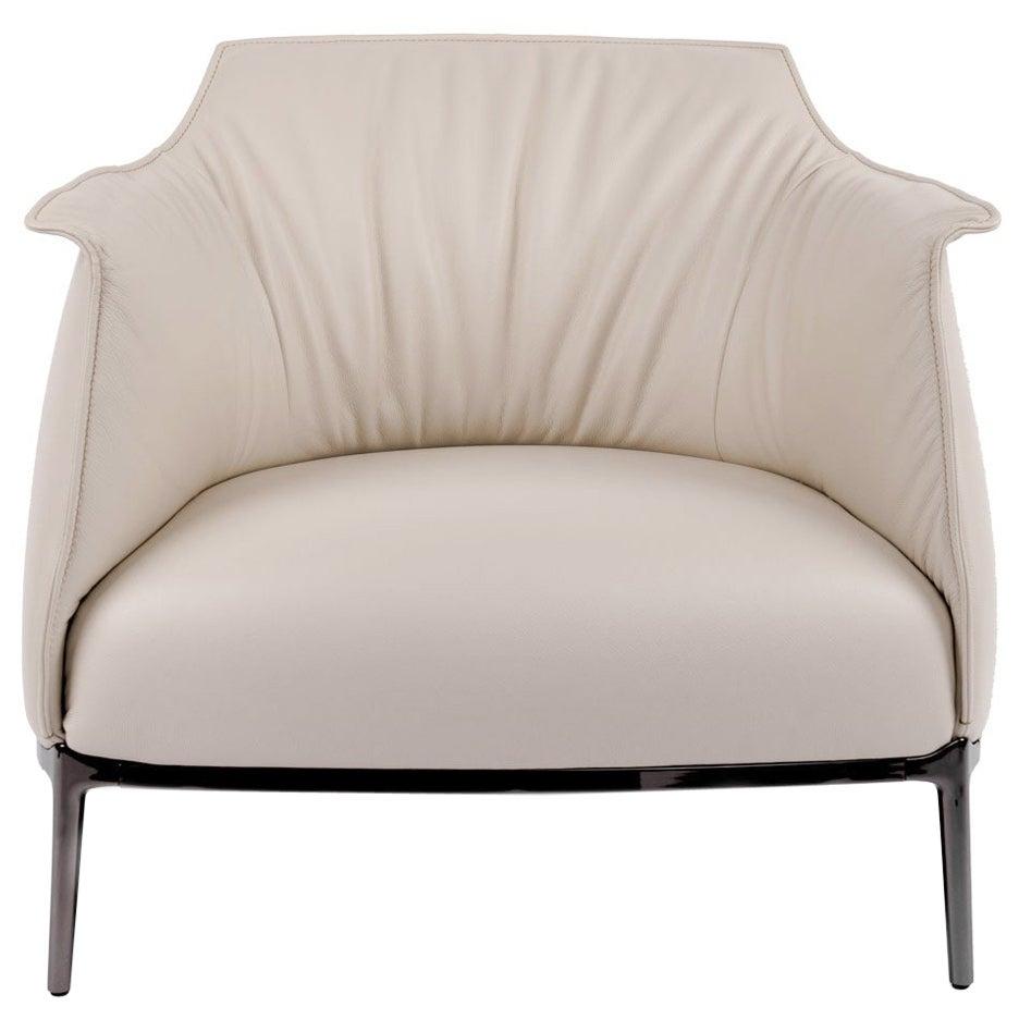 Cream Italian Leather with Gunmetal Grey Frame Armchair, Poltrona Frau