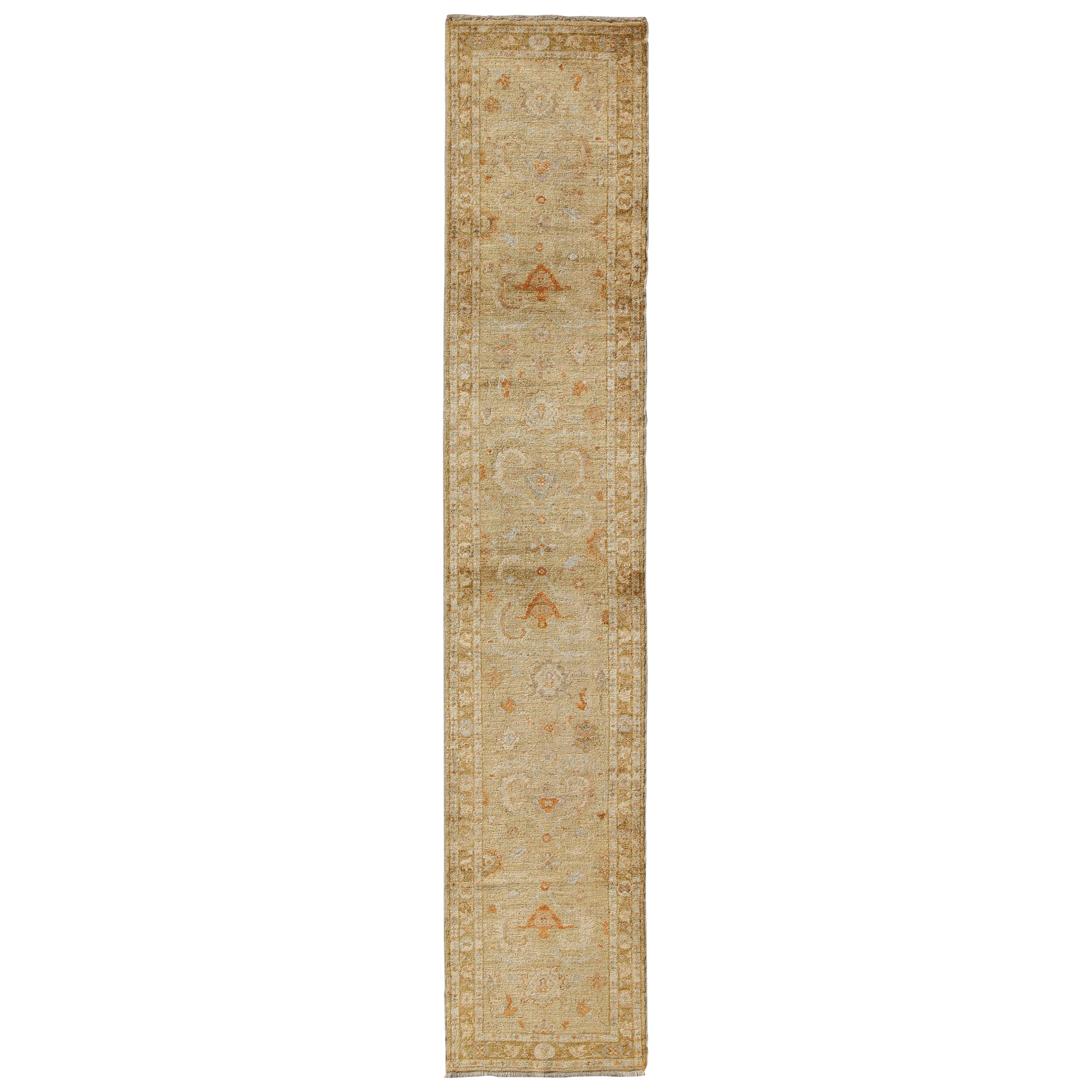 Angora Oushak Turkish Runner with Classic Design in Gold Background