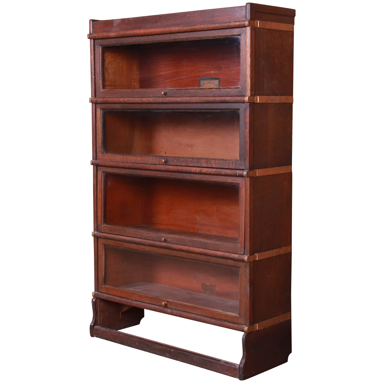Globe Wernicke Antique Oak Four-Stack Barrister Bookcase, circa 1920s