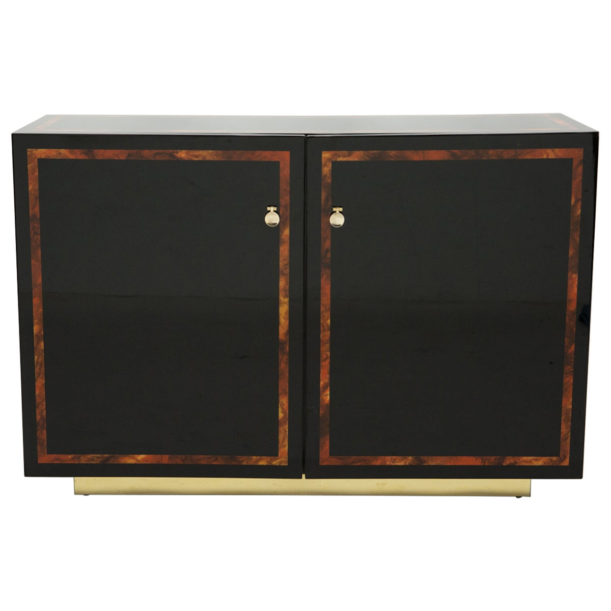 Black Lacquer Burl Wood Brass Cabinet Sideboard by J.C. Mahey, 1970s
