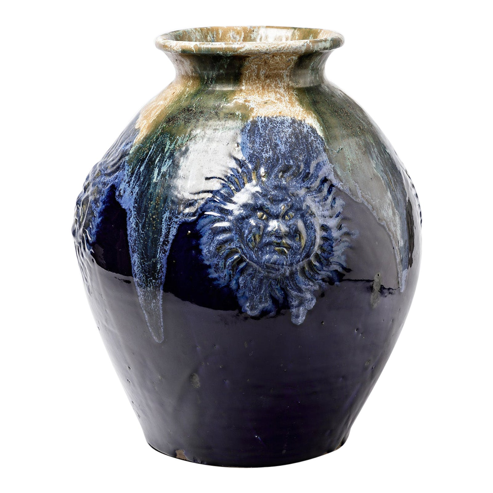Big Ceramic Vase with Blue Glazes Decoration by Lucien Arnaud, circa 1920