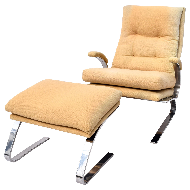 Milo Baughman for Thayer Coggin Chrome Lounge Chair and Ottoman, USA, 1970s