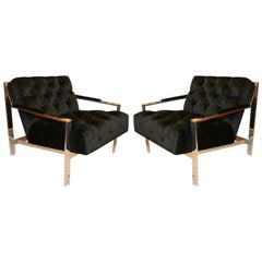 Pair of Custom Tufted Lounge Chairs by Cy Mann
