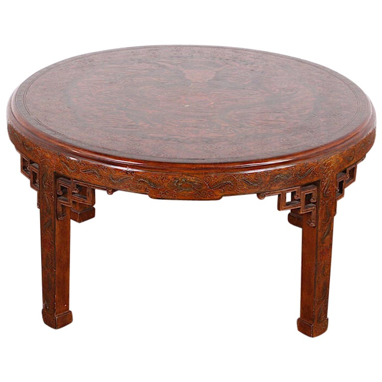 Vintage Round Chinese Lacquered Coffee Table