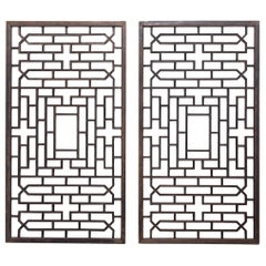Pair of Chinese Courtyard Lattice Panels, circa 1900