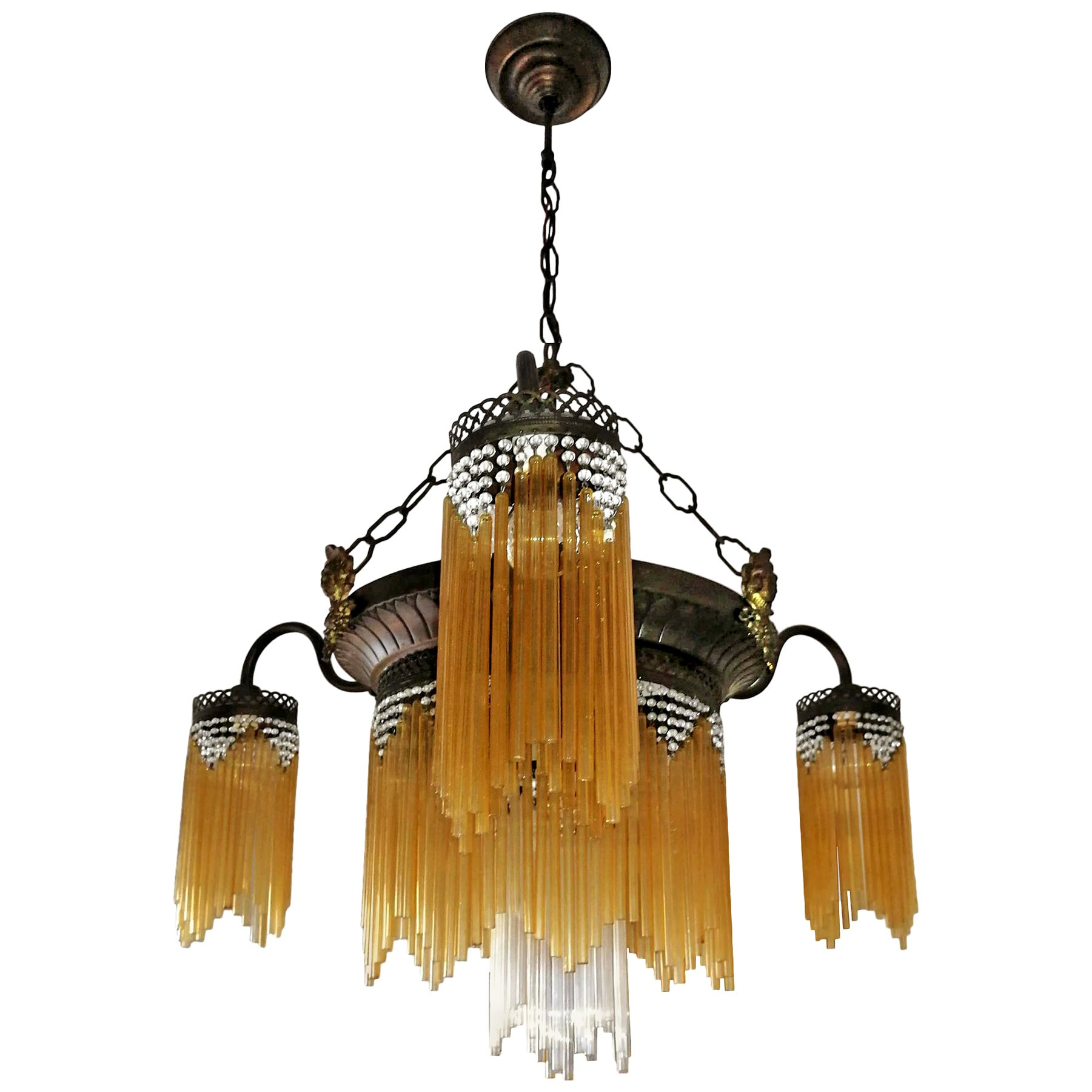 French Art Deco and Art Nouveau Beaded Amber Glass Fringe 7-Light Chandelier