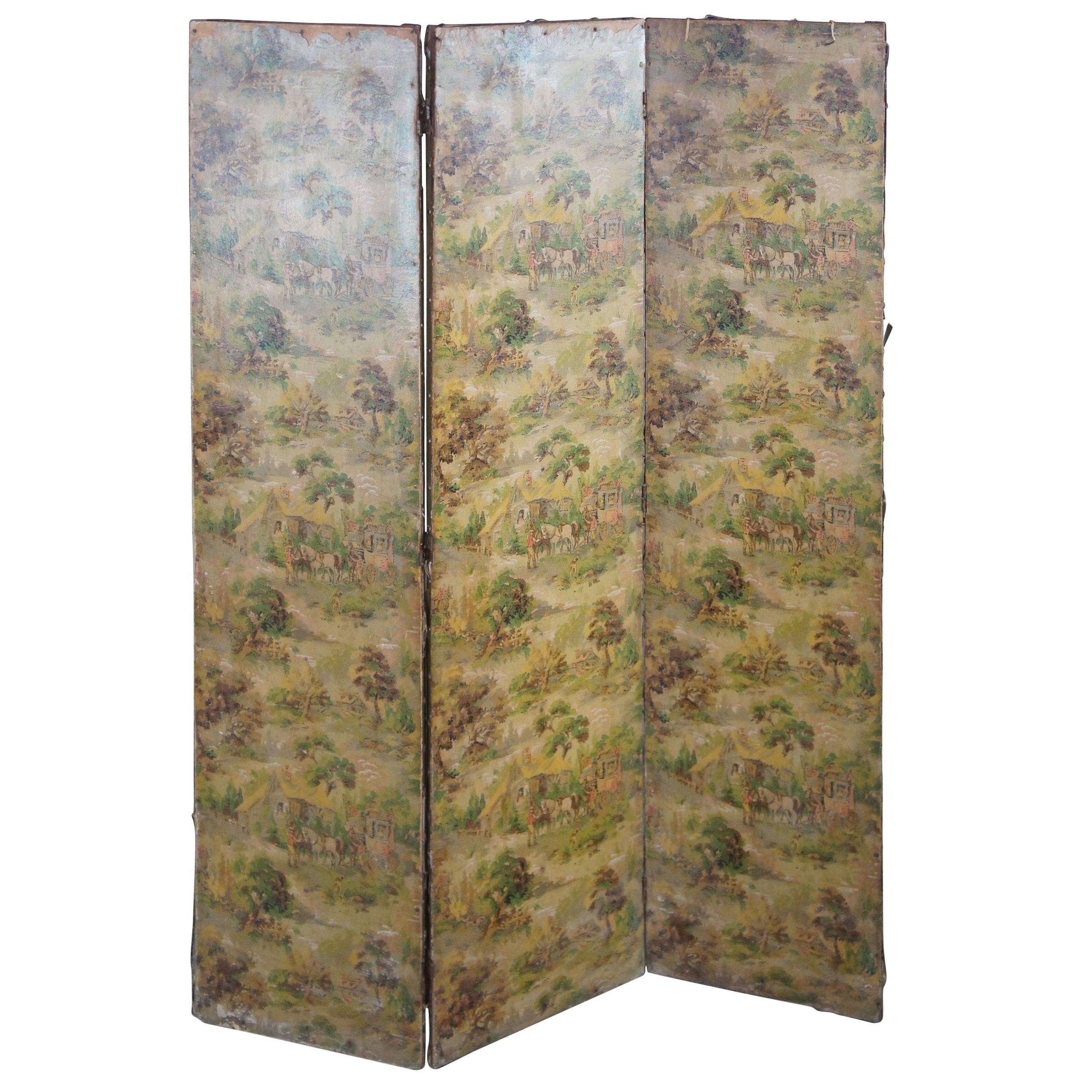 Antique 3-Panel Folding Screen Room Divider Victorian Landscape Lithograph Scene