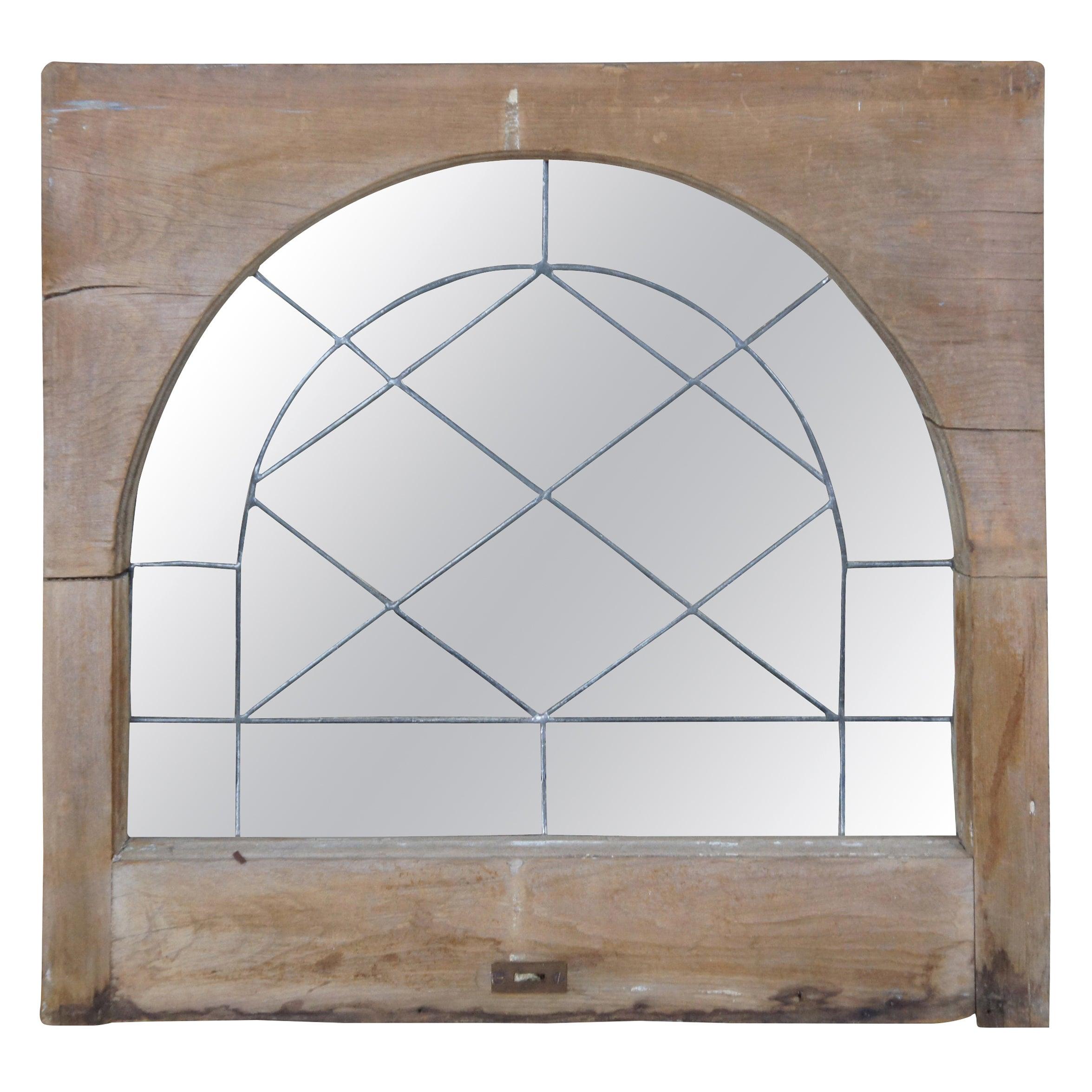 Antique Reclaimed Rectangular Leaded Glass Transom Window Insert Palladium
