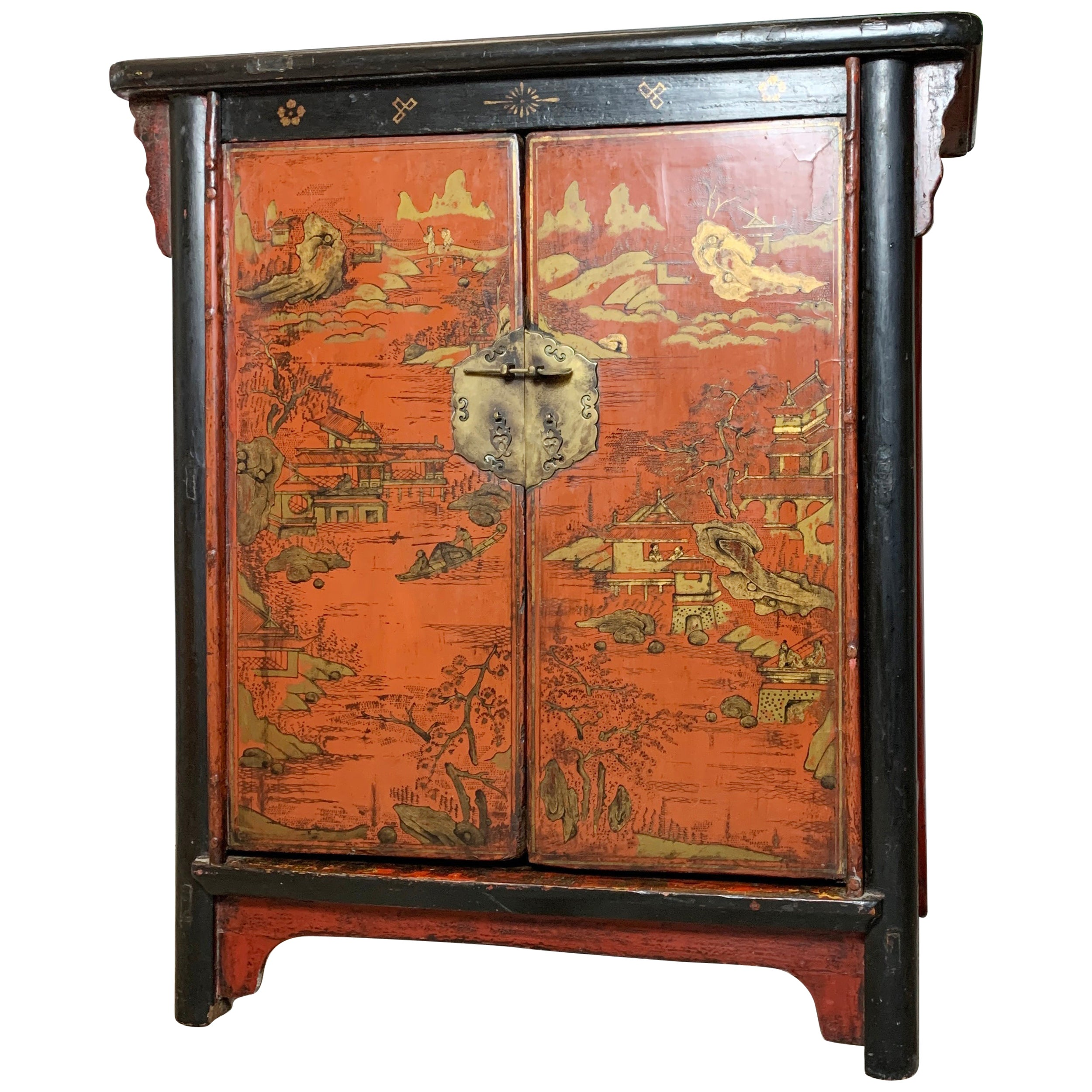 19th Century Crimson Red On Black, Chinoiserie Cabinet