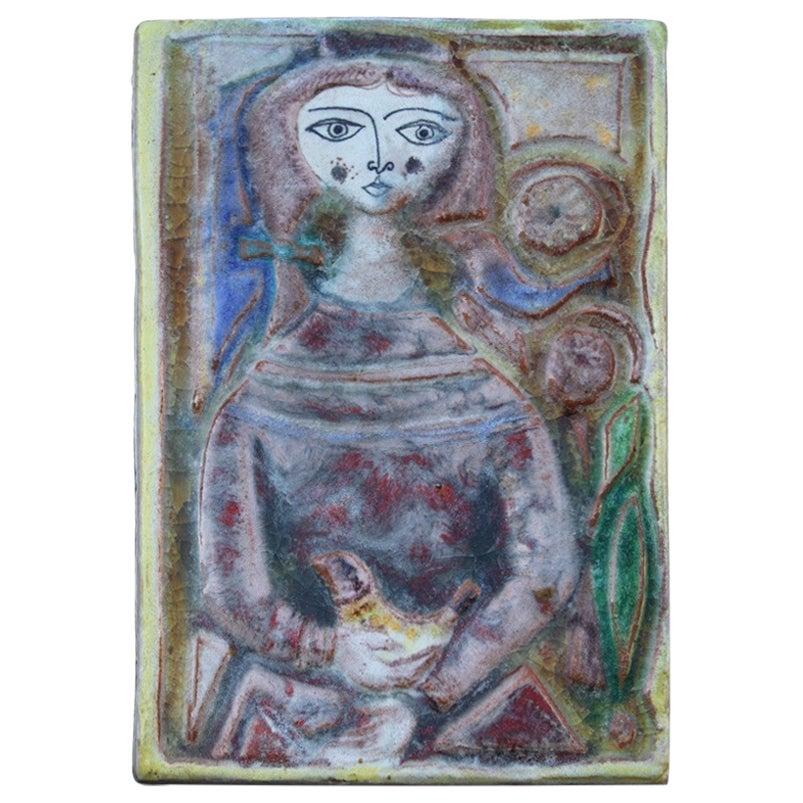 Woman on Majolica Tile Giovanni de Simone 1960s Italian Design