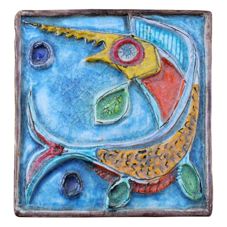 Giovanni de Simone Ceramic Tile Italian Design Multi-Color Swordfish Marlin 1970
